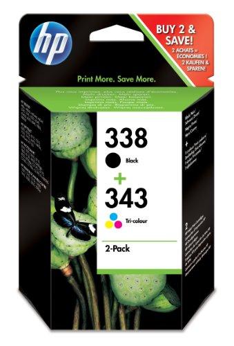 HP 338 Original Tintenpatrone 2er Pack, schwarz/343 cyan/magenta/gelb
