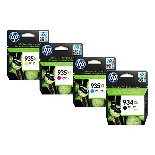 HP Original 934XL/935XL Multipack - 4 Tintenpatrone - Cyan / Gelb / Magenta / Schwarz Mit Chip - kompatibel mit Officejet 6230 Officejet 6820 Officejet 6830
