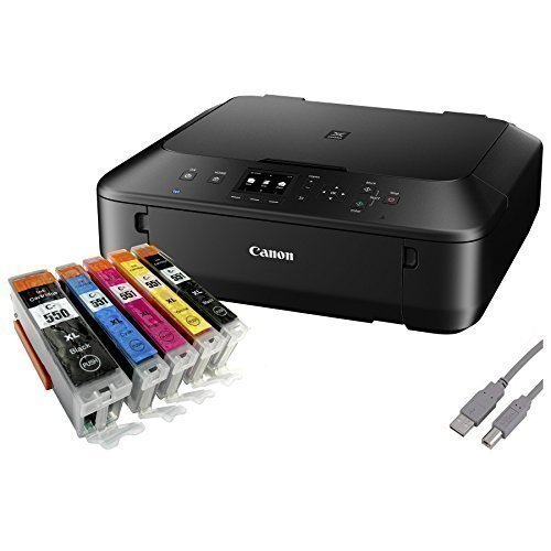 Canon PIXMA MG5650 Multifunktionsgerät (Drucker, Kopierer, Scanner, USB, WLAN) schwarz + USB Kabel & 5 Youprint Tintenpatronen (Originalpatronen ausdrücklich nicht im Lieferumfang)