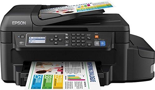 Epson EcoTank ET-4550 4-in-1 Tintentstrahl Multifunktionsgerät (Drucker, Scanner, Kopierer, Fax, ADF, WiFi, Ethernet, Duplex, Display, USB 2.0, große Tintenbehälter, hohe Reichweite) schwarz