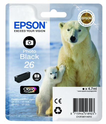 Epson T2611 Tintenpatrone Eisbär, Singlepack, Foto schwarz