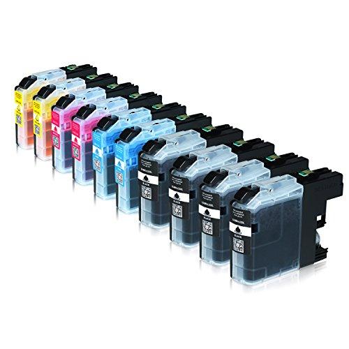 10 Tintenpatronen für Brother LC-223 XXL LC-225 LC-227, MFC-J5320DW, MFC-J4420DW, MFC-J5620DW, MFC-J4620DW 4-in1, DCP-J4120DW, Schwarz je 20ml, Color je 13ml