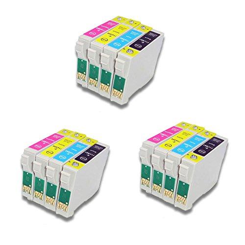 12x (3xShwarz, 3xCyan, 3xMagenta, 3xGelb) Druckerpatronen komp. für Epson Stylus Office B40W BX300F BX310FN BX600FW BX610FW Stylus D120 D120 Network Edition D78 D92 DX4000 DX4050 DX4400 DX5000 all in one printer DX6000 DX6050 DX7000F DX7450 DX8400 DX9400F DX9400F Wifi-Edition S21 SX100 SX105 SX110 SX115 SX200 SX205 SX210 SX215 SX218 SX400 SX405 SX405WiFi SX410 SX415 SX510W SX515W SX600FW SX610FW
