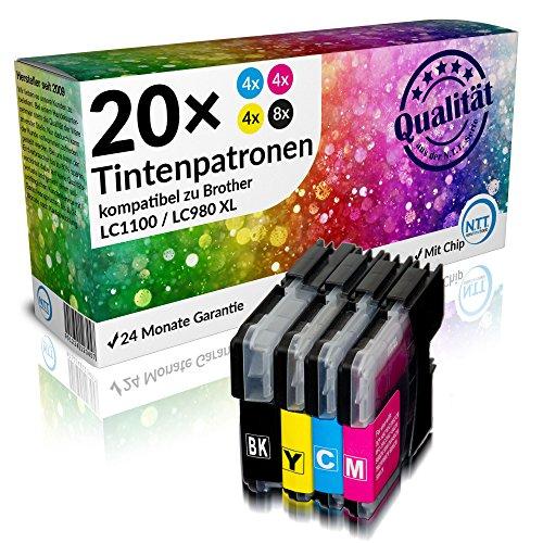 N.T.T.® - 20 STÜCK XL Druckerpatronen kompatibel zu Brother LC1100 LC980 (8x schwarz & je 4x cyan magenta yellow)