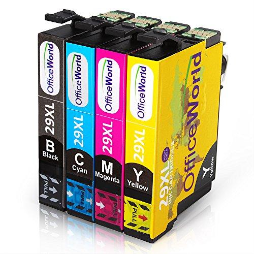 OfficeWorld 29XL Kompatiblen Tintenpatronen f¨¹r Epson Expression Home XP-332, XP-235, XP-335, XP-432, XP-435 (1-Black, 1-Cyan, 1-Magenta, 1- Gelb)