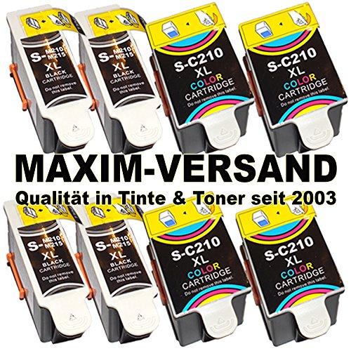 8x MAXIMPRINT XXL Tinten-Patronen SET mit Tintenfüllstandsanzeige kompatibel zu Samsung INK-M210 / M215 Black & C210 Tri-Color mit Chips passend zu Samsung CJX-1000 CJX-1050 W CJX-2000 FW