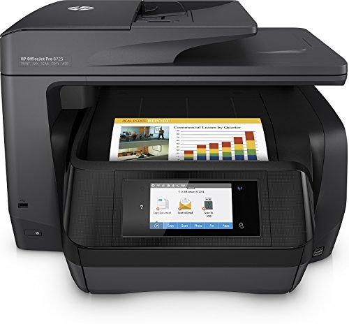 HP OfficeJet Pro 8725 Multifunktionsdrucker (A4, Drucker, Scanner, Kopierer, Fax, HP Instant Ink, WLAN, LAN, NFC, Duplex, HP ePrint, Airprint, Cloud Print, USB, 4800 x 1200 dpi) weiß
